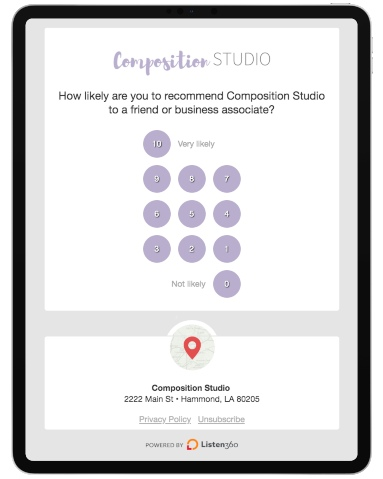 iPad with rating from one to ten for a salon