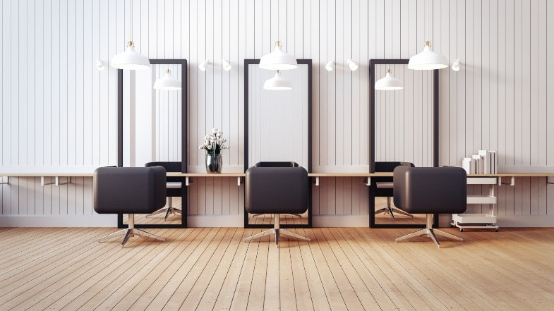 Three chairs in a hair salon